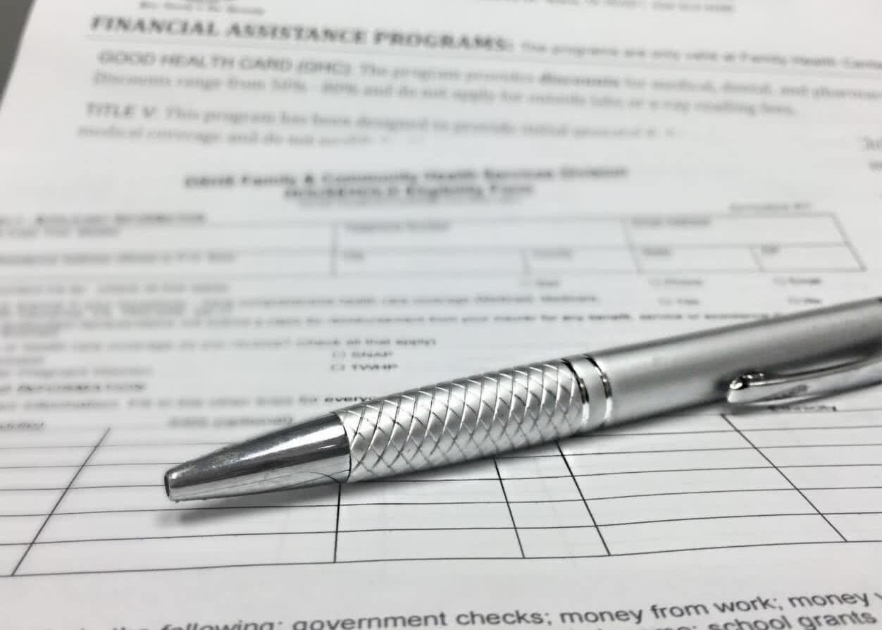 Medical financial assistance paperwork.
