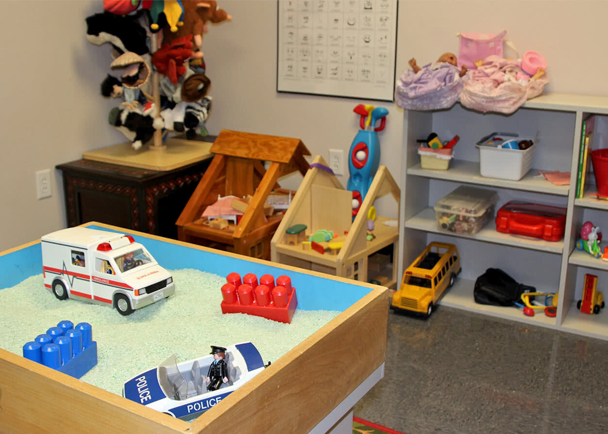 Children's counseling and therapy toy room.